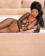 Veronika Zemanova modelling a sexy fishnet body stocking.