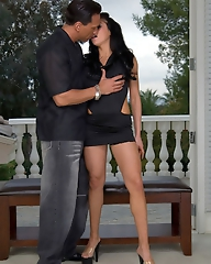 Busty pornstar Audrey Bitoni gives a nice blowjob and rides a big hard cock on the terrace