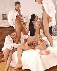Hot babe in 4 cock gangbang